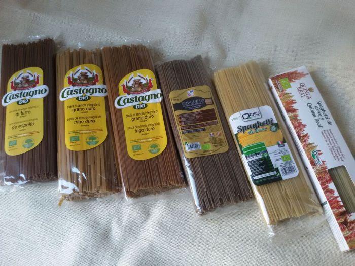 Espaguete de quinoa e arroz, aroz, centeo, trigo integle i espelta, e tallaríns de trigo integral ecolóxicos